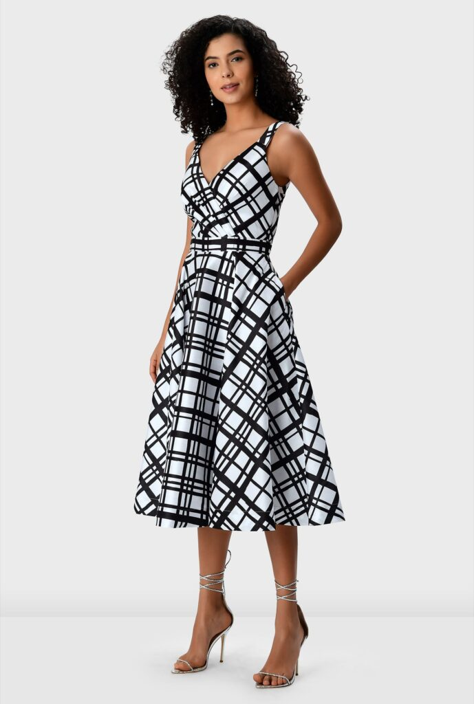 Check Print Dupioni Surplice Dress