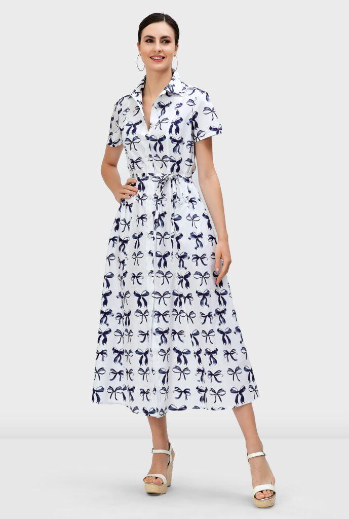 Bow-Tie Print Cotton Poplin A-Line Shirtdress