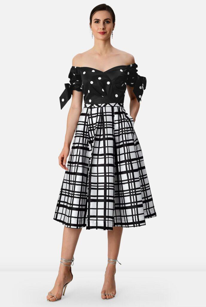 Off-The-Shoulder Polka Dot Print Satin And Check Print Dupioni Dress