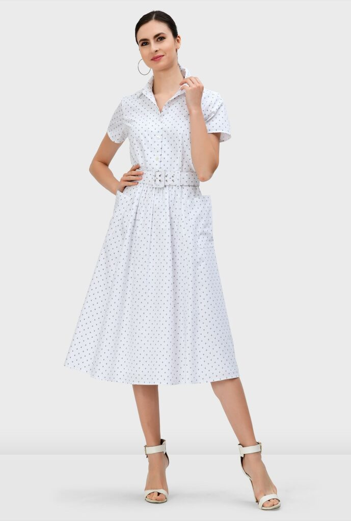 Umbrella Print Cotton Poplin Belted Shirtdress