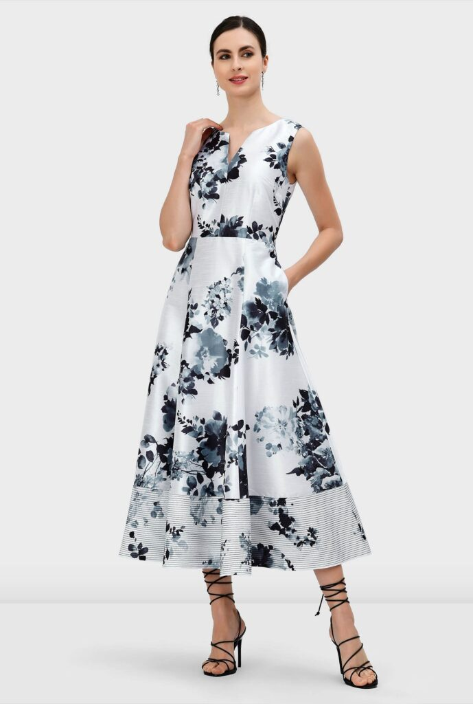 Floral Print Trapunto Hem Dupioni Dress