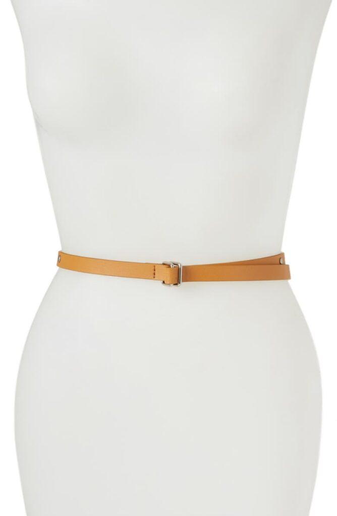 yellow Studded Skinny Belt