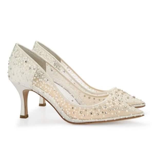 Wedding Pumps Low Heel Bling Wedding Shoes For Bride