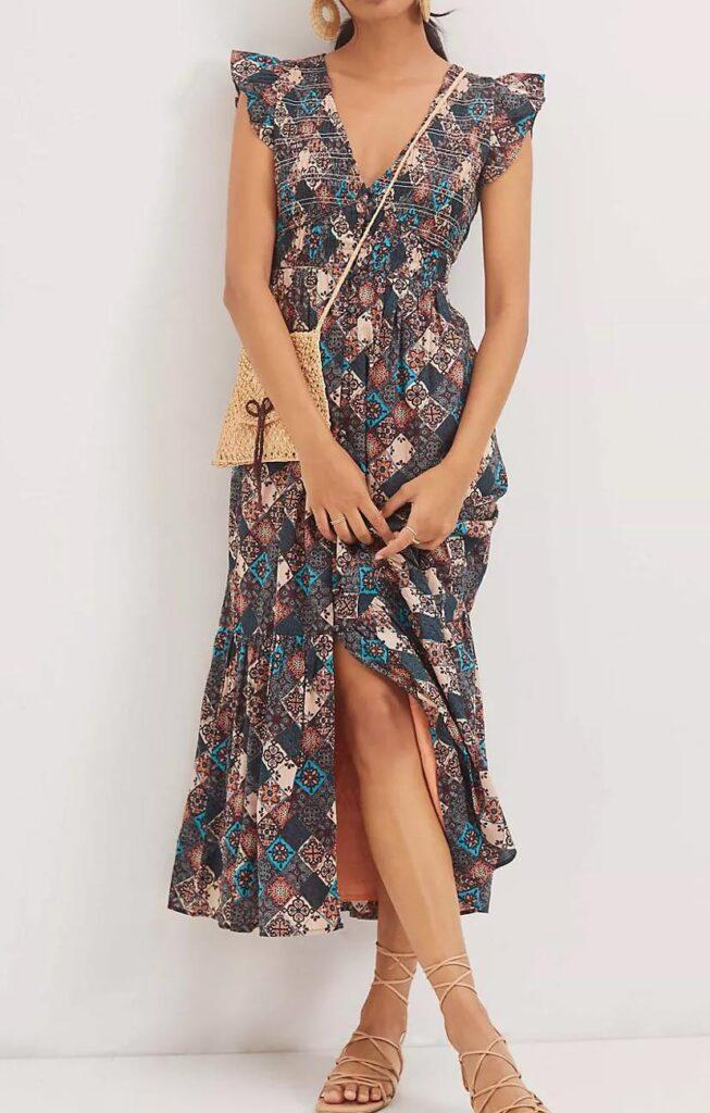 Smocked Ruffle Maxi Dress
