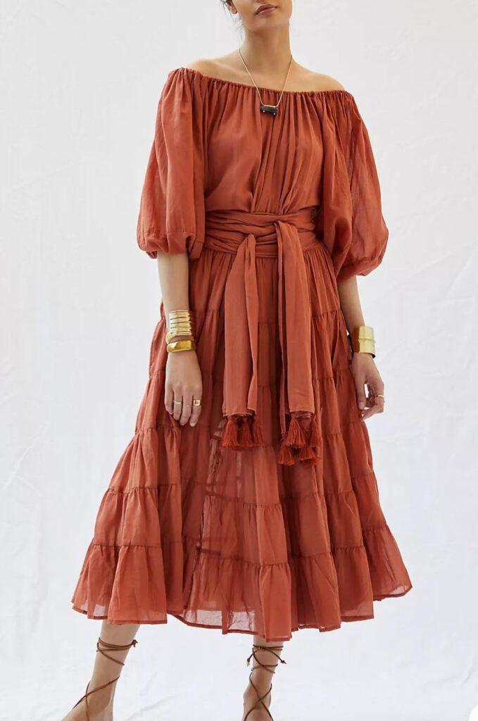 Erika Peña Tiered Off-The-Shoulder Maxi Dress