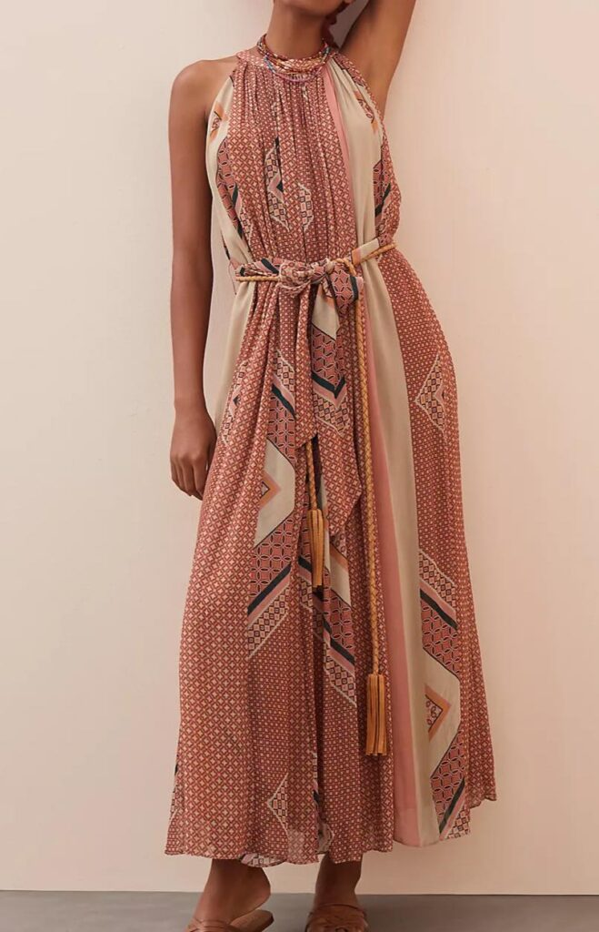 Abstract Halter Maxi Dress