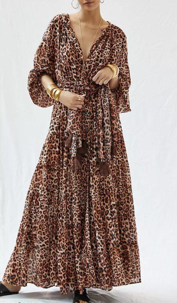 Erika Peña Leopard Tiered Maxi Dress