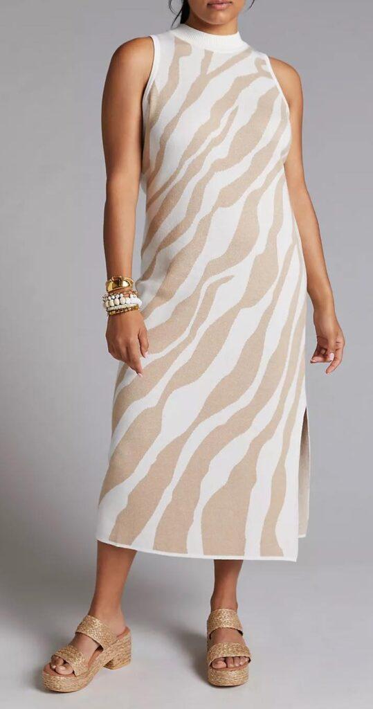 Mock Neck Knit Midi Dress
