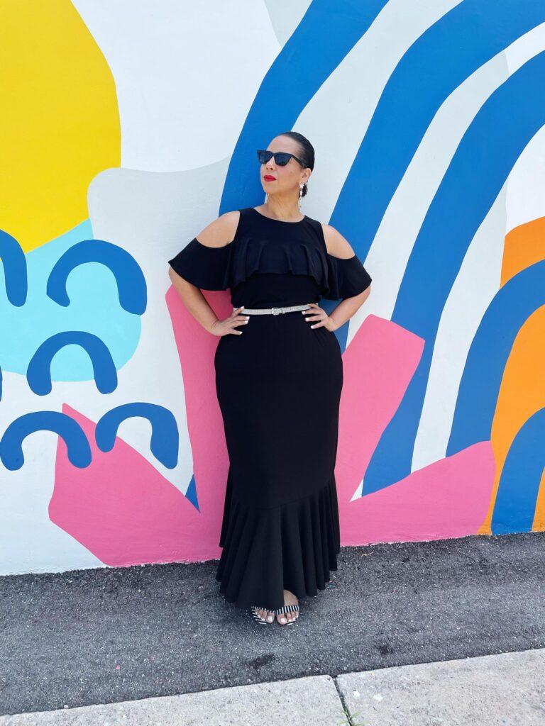 black plus size Piper Cold Shoulder Maxi Dress by Kiyonna via dia and company