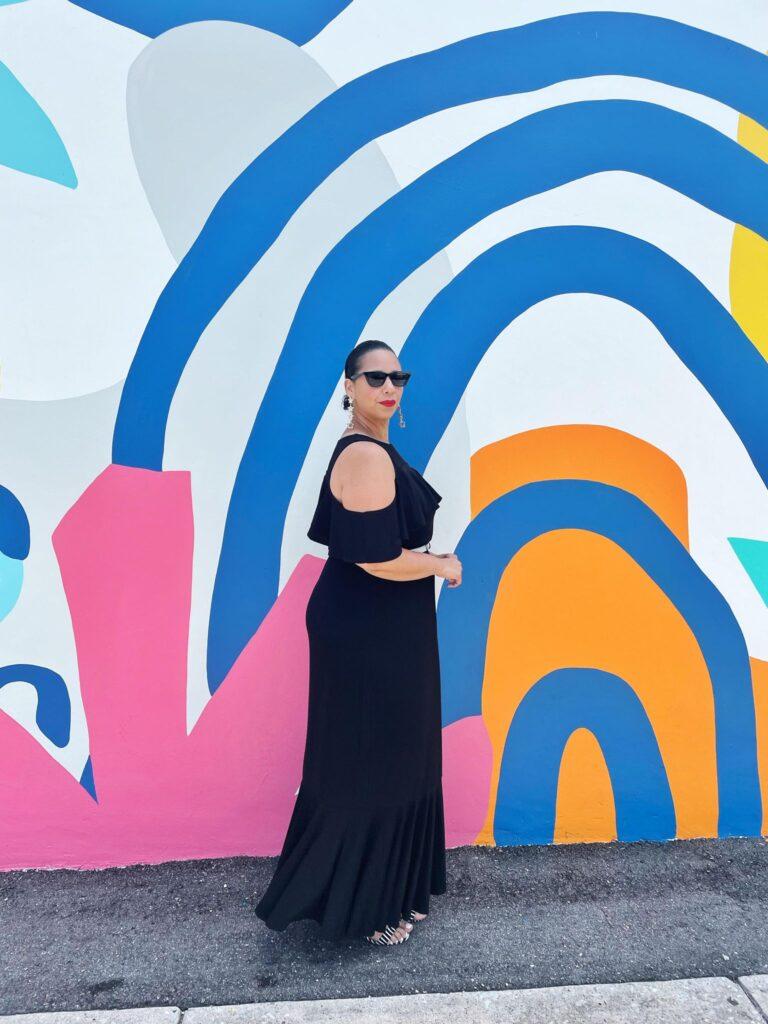 black plus size Piper Cold Shoulder Maxi Dress.