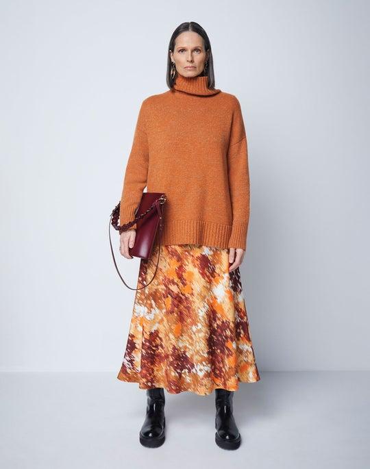 Lafayette 148 sweater and silk skirt