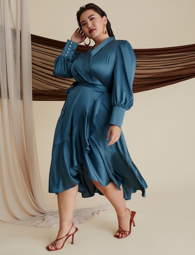 Bishop Sleeve Wrap Dress