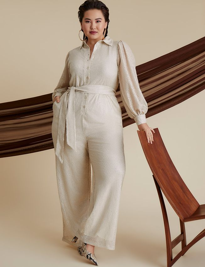 cream plus size Sequin Jumpsuit With Collar