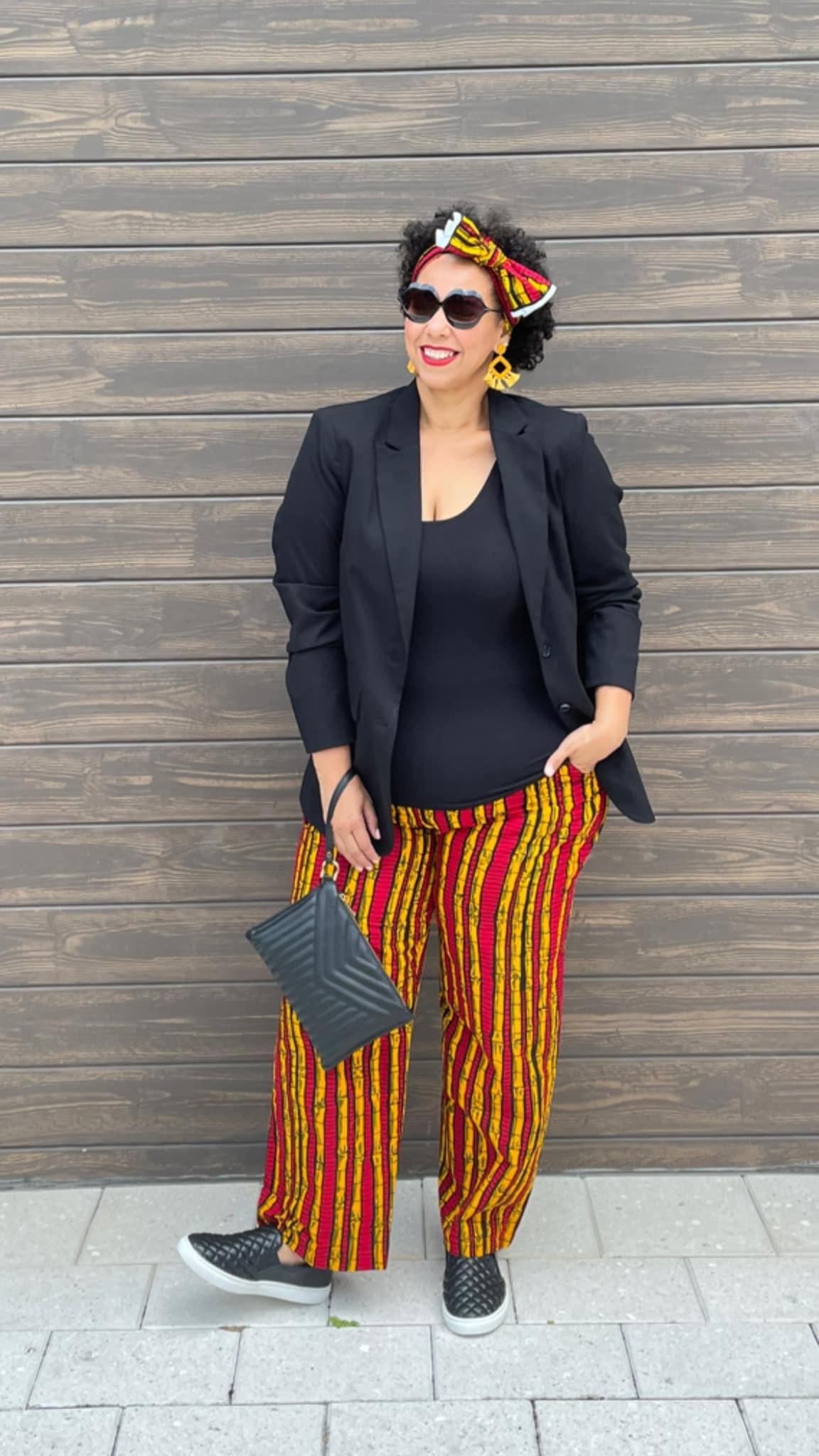 African print wide leg pants