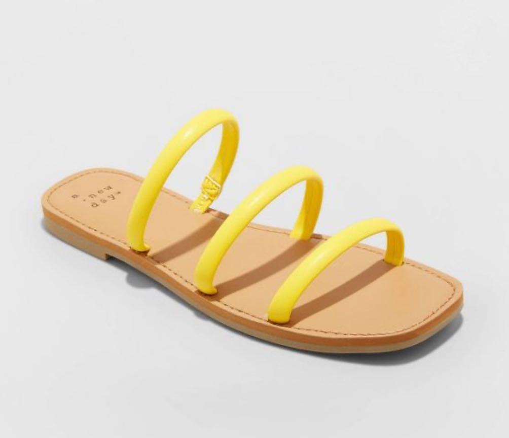 target yellow flat sandals- Women's Wren Triple Strap Sandals - A New Day