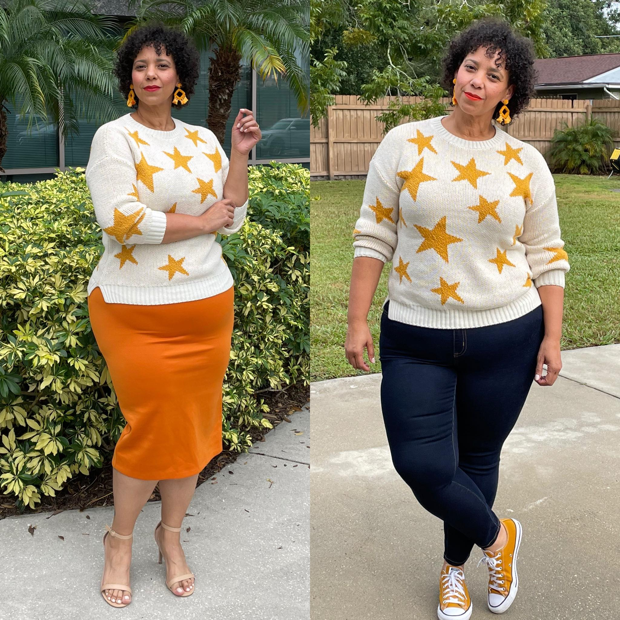 star print sweater styled two ways