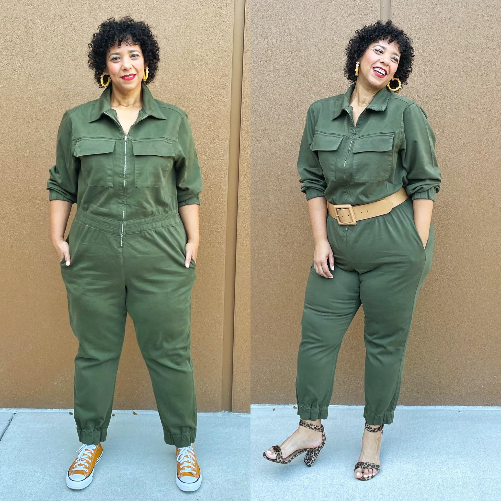 green utility jumpsuit