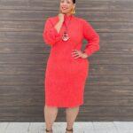 Orange Mock-Neck Ribbed Sweater Dress